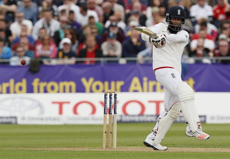 England's Moeen Ali in action against Sri Lanka during Second Test Match At Emirates Durham ICG on Saturday, May 28, 2016. Photo: Reuters