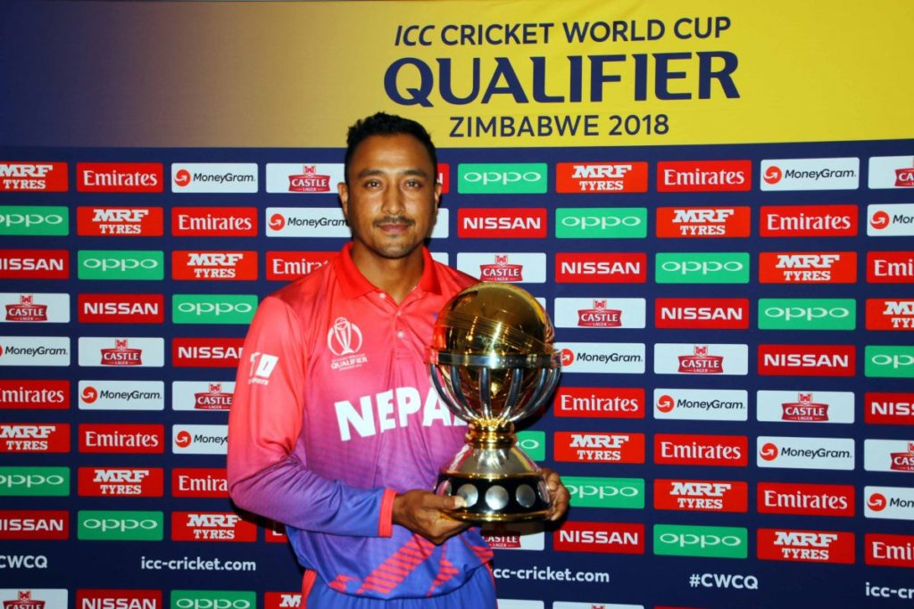 Nepal Captain Paras Khadka with ICC World Cup 2018 Qualifier trophy